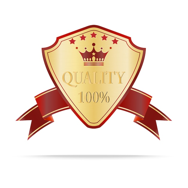 Luxury gold and red quality shields label Premium Vector