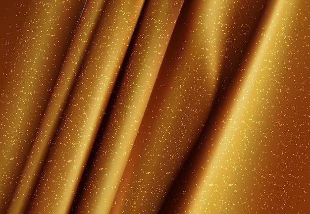 Illustrazione 3d del tessuto setoso oro di lusso realistica Vettore gratuito