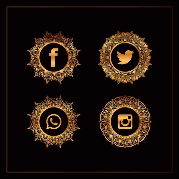 Luxury gold social media logo collection Premium Vector