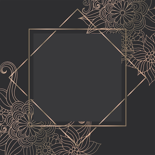 Luxury gold   template with zentangle hand drawn flowers Free Vector