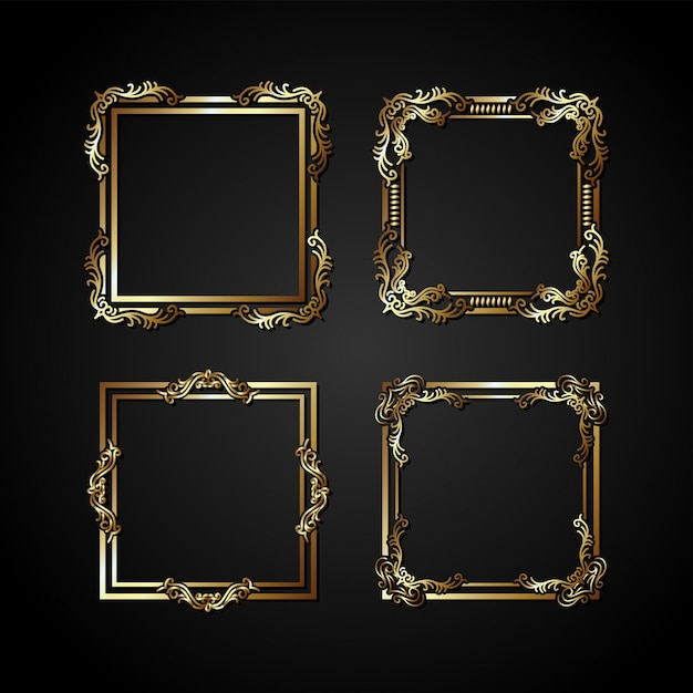 Luxury gold vector frame Premium Vector