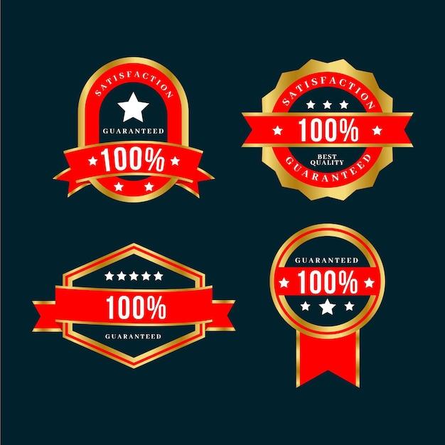 豪華な金色と赤の100%保証ラベルコレクション 無料ベクター