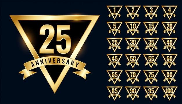 Роскошные золотые юбилейные этикетки и логотип с эмблемой Бесплатные векторы