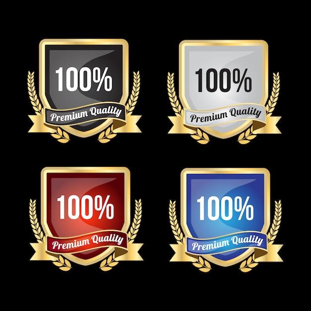 100%のプレミアム品質と満足度を実現する豪華なゴールデンバッジとラベル Premiumベクター