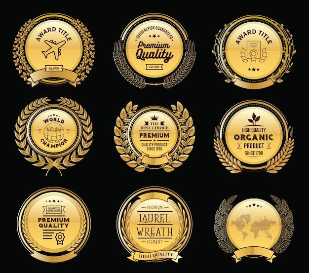 Luxury golden badges laurel wreath collection Premium Vector