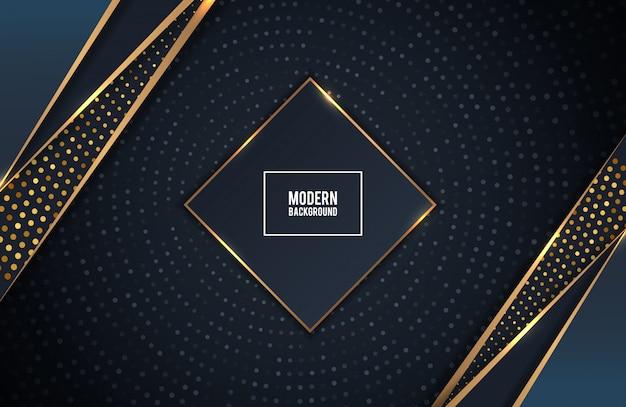 Luxury golden and black background layers Premium Vector