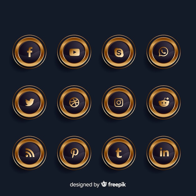 Luxury golden and black social media logo collection Free Vector