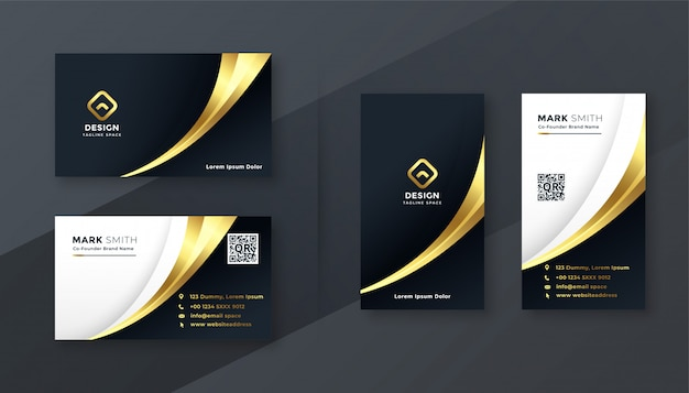 Luxury golden business card template set Free Vector