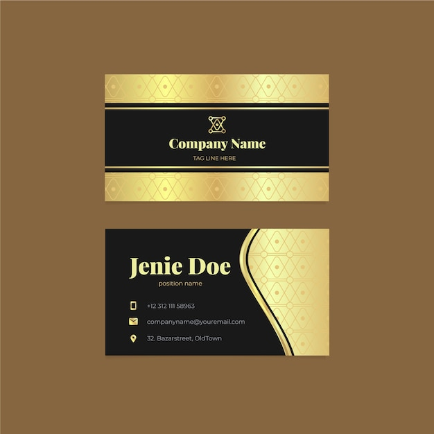 Luxury golden business card template Free Vector