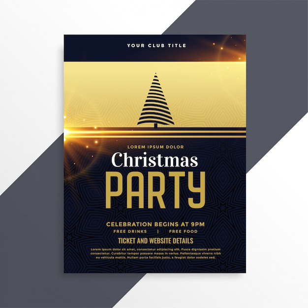 luxury golden christmas party flyer template vector free download