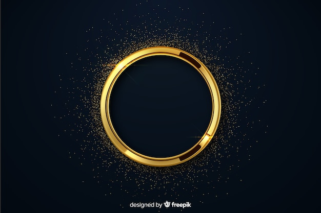Luxury golden circle with sparkles background Free Vector