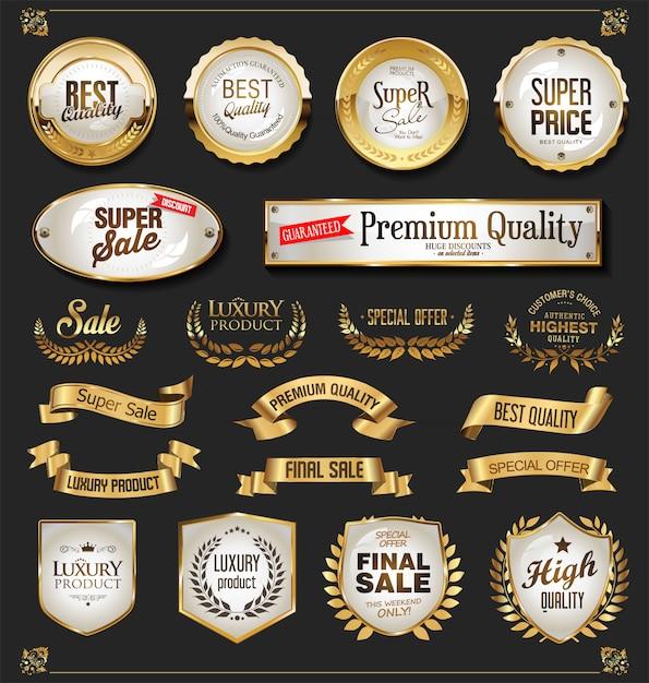 Luxury golden design elements collection Premium Vector