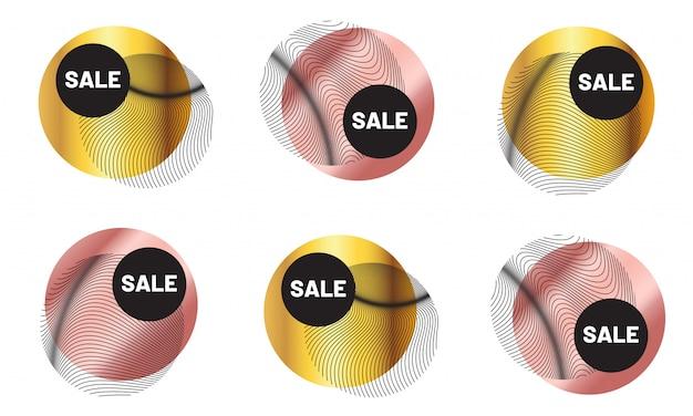 럭셔리 황금 기하학적 판매 배지 설정합니다. 로즈 골드 메탈릭 패션 라벨 프리미엄 벡터