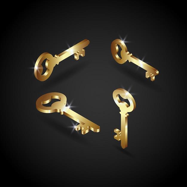 Luxury golden key vector illustration Premium Vector