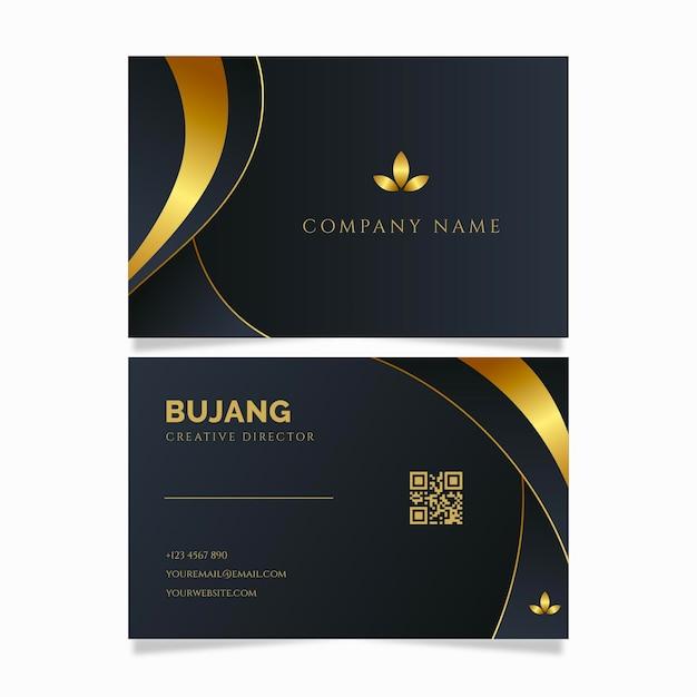 Luxury golden line business identity cards template Premium Vector