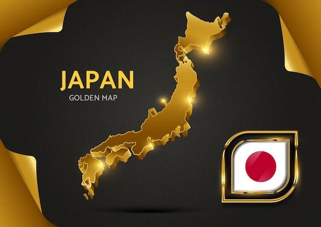 Роскошная золотая карта японии Premium векторы