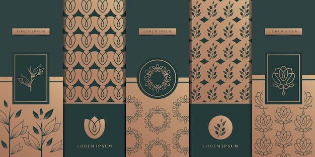 豪華な黄金のパッケージデザイン、花、自然、花、オリーブの木、パターン。 Premiumベクター