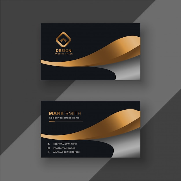 Luxury golden premium business card template Free Vector