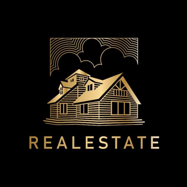 Luxury golden real estate logo Premium векторы