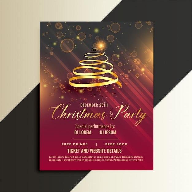 Luxury Golden Ribbon Christmas Tree Flyer Template Design Vector