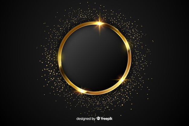 Luxury golden sparkling frame background Free Vector