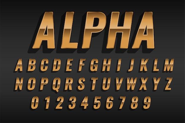 Роскошный золотой эффект стиля текста с алфавитами и цифрами Бесплатные векторы