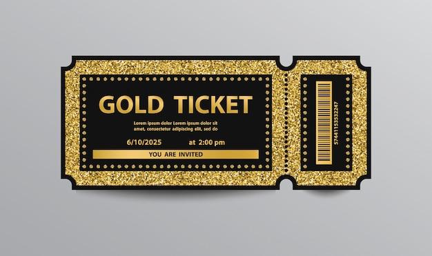 Luxury golden ticket template isolated Premium Vector