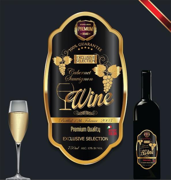 Premium Vector | Luxury golden wine label
