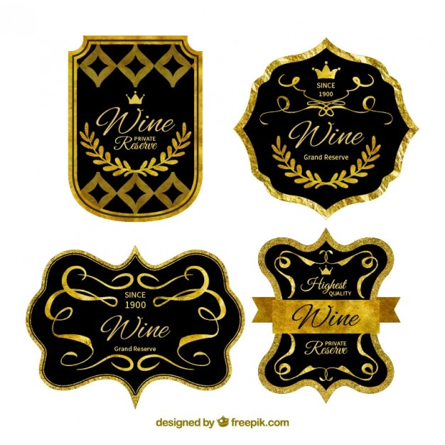 Luxury Golden Wine Labels Vector