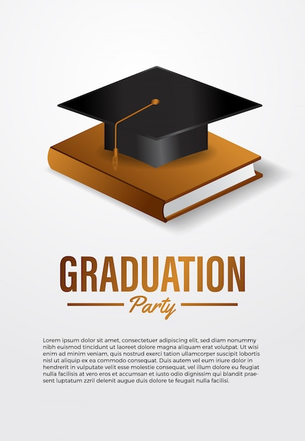 Luxury graduation party ceremony poster template with 3d isometric graduation caps with golden book Premium Vector
