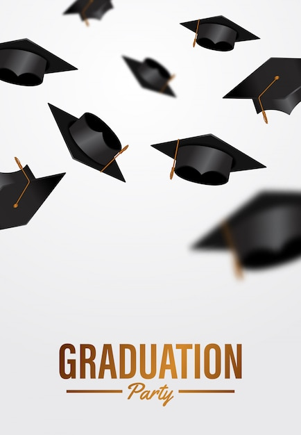 Luxury graduation party ceremony poster template with throwing graduation caps in to air Premium Vector