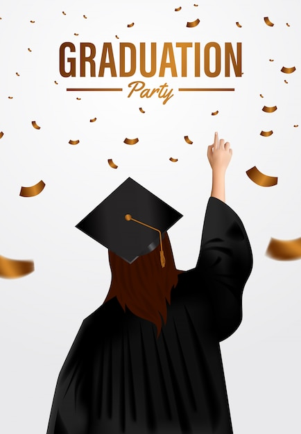 Luxury graduation party ceremony poster template with woman graduates and golden confetti Premium Vector
