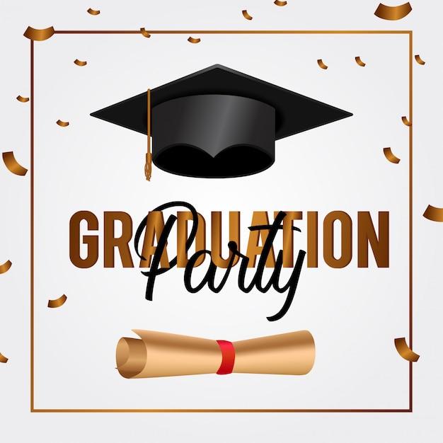 Luxury graduation party invitation card Premium Vector