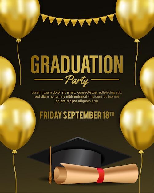 Luxury graduation party invitation Premium Vector
