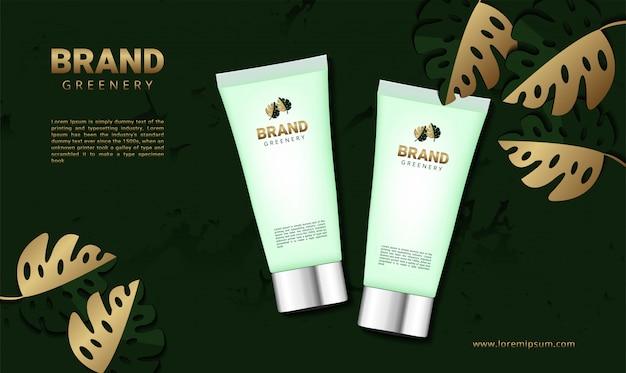 Роскошная зелень баннер для косметического продукта Premium векторы