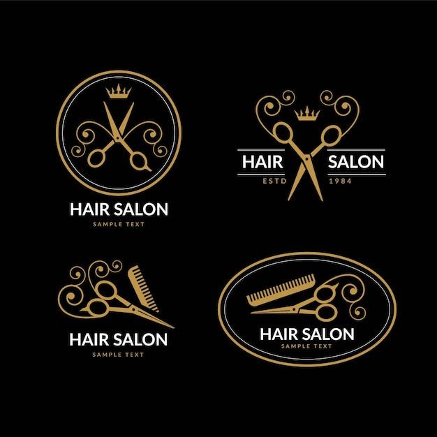 Роскошная коллекция логотипов парикмахерской Бесплатные векторы