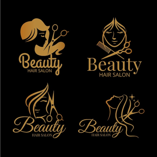 Luxury hair salon logo collection Premium Vector