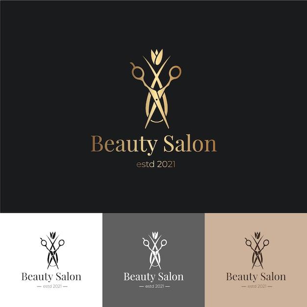 Роскошный логотип парикмахерской Бесплатные векторы