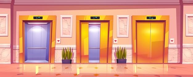 黄金のエレベーターの扉、大理石の壁、植物の豪華な廊下のインテリア。 無料ベクター