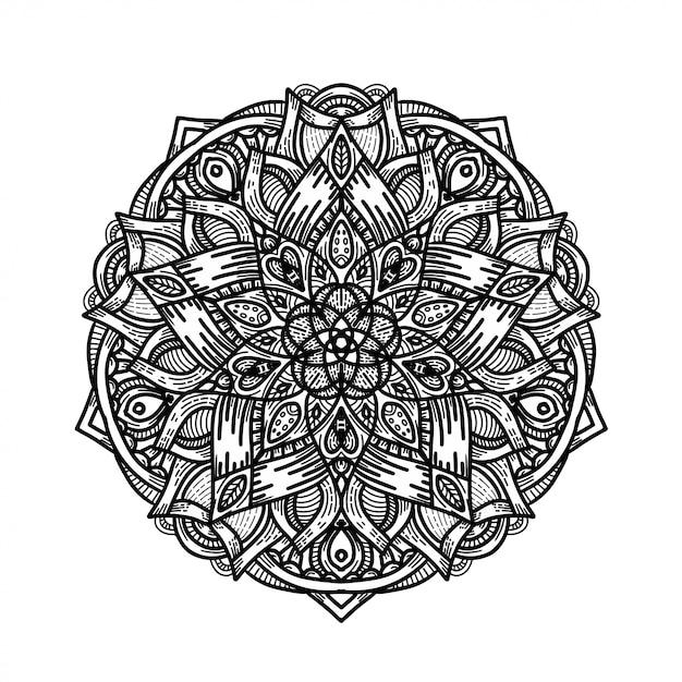 Роскошная рука нарисовать цветочный орнамент мандалы Premium векторы