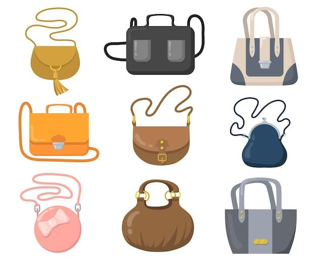 Набор роскошных сумок. стильные сумки, клатчи и кошельки с ручками и лямками. Бесплатные векторы