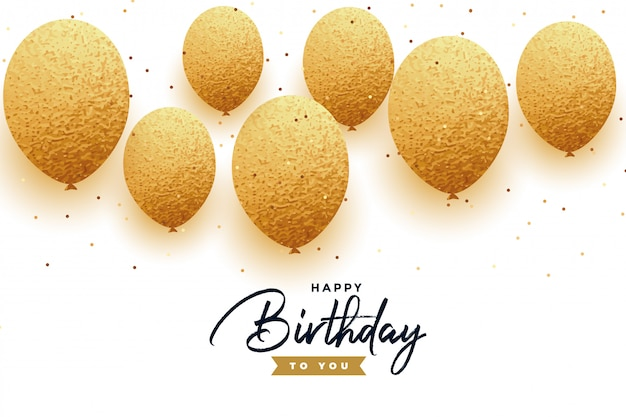 Luxury happy birthday background with golden balloons Free Vector