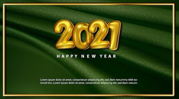 Роскошная зеленая карта с новым годом с номерами золотых шаров Бесплатные векторы