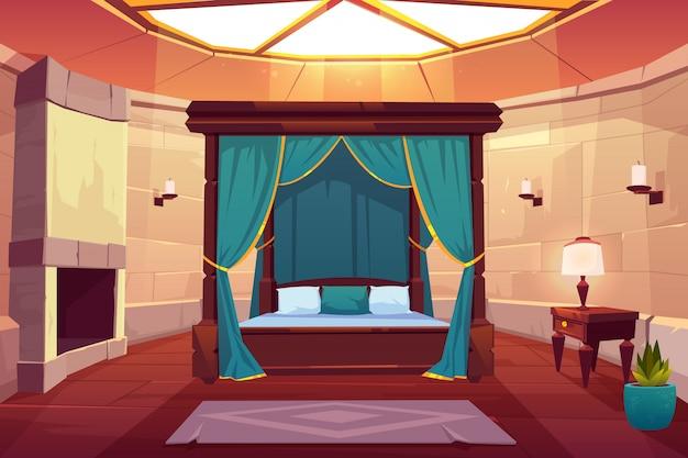 Luxury hotel bedroom cartoon interior illustration Free Vector