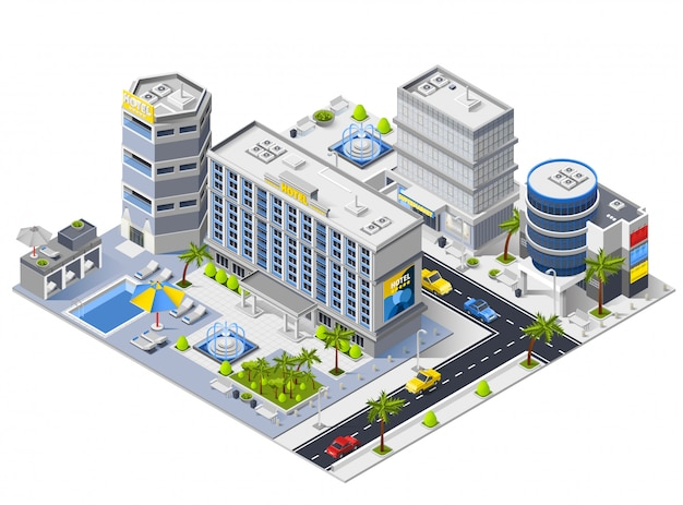 Luxury hotel buildings isometric composition Free Vector