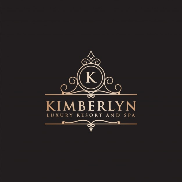 Luxury hotel label letter k Free Vector