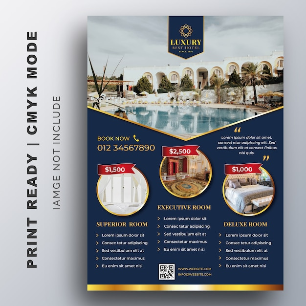 Luxury hotel template for poster, flyer, design template Premium Vector
