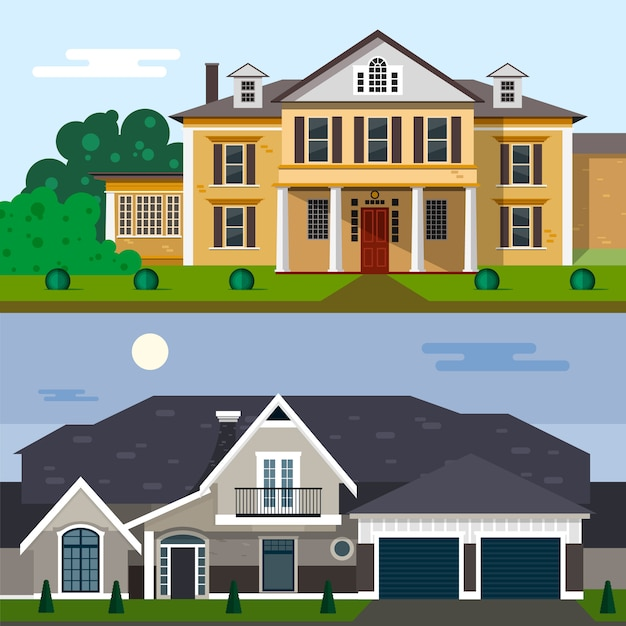 Home Exterior Design Tool: Luxury House Exterior Vector Illustration In Flat Style