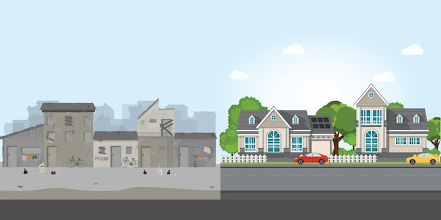 Luxury house and slum, gap between poverty and richness. Premium Vector