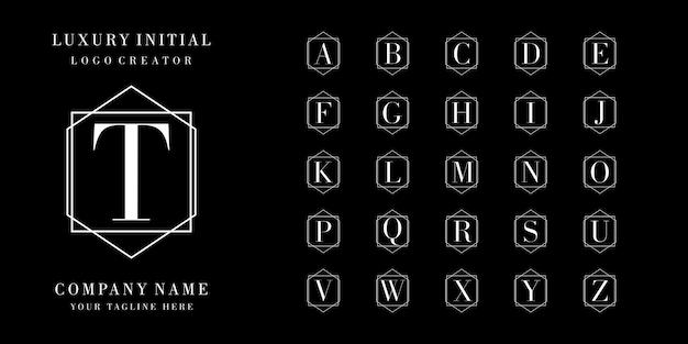 Luxury initial badge logo design Premium Vector